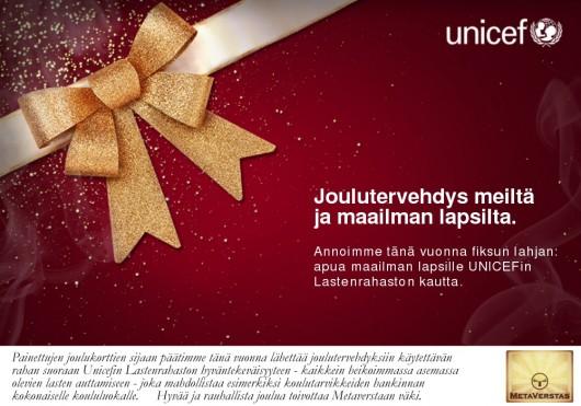 Metaverstas joulutervehdys Unicef
